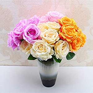 Rm.Baby 1Pcs 6 Heads Artificial Fake Flowers Rose Floral Real Touch Looking Silk Cloth Material for Party Wedding Decor, Garden Craft Art,Office Centerpiece Home Decor(Vase not Included) 62