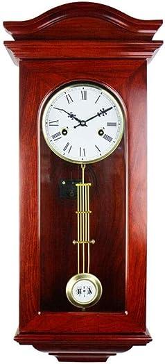 NL Wall Clock Grandfather Clock Wall Clocks Chime Vintage European Retro Metal Pendulum Mechanical Manual Winding Solid Wood Roman Numeral Living Room Decor Vintage Wall Clock