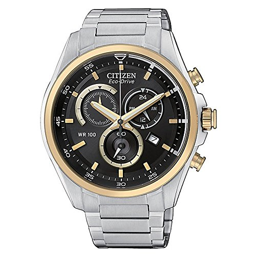 Citizen-World-Collection-Silver-Gold-Black-Analog-Eco-Drive-Mens-Watch-AT2134-58E