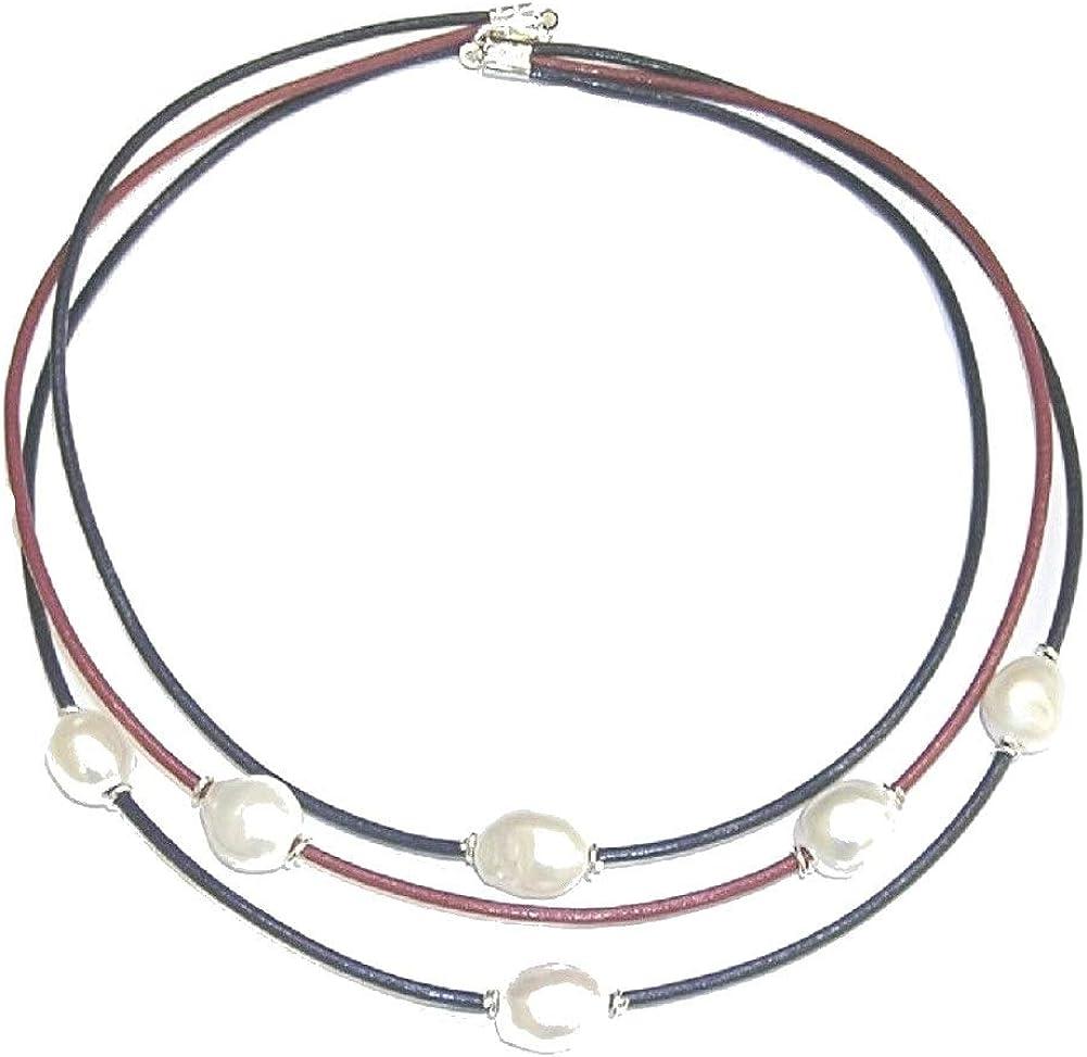Collar de 6 Perlas Cultivadas barrocas. Cuero Natural Color Azul y Granate Tres Vueltas y Plata de Ley. Envoltorio de Regalo