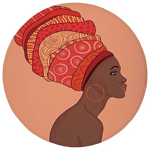 (Round Rug Mat Carpet,African Woman,Exotic Young Native Girl with Traditional Turban Folk Art Decorative,Salmon Coral Red Chocolate,Flannel Microfiber Non-slip Soft Absorbent,for Kitchen Floor Bathroom)