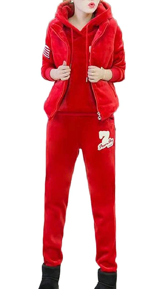 Red LEISHOP Women Thicken Three Piece Outfits Sweatshirt + Vest + Pants Tracksuit