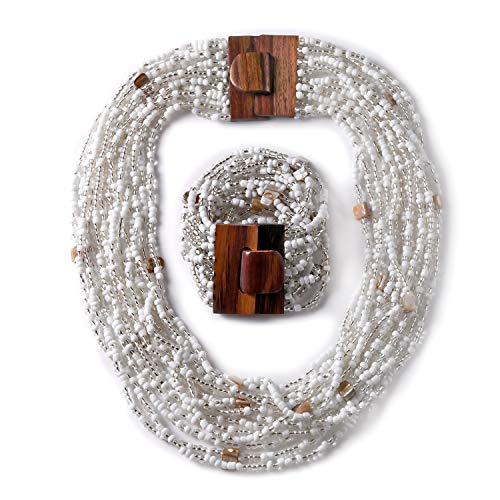 Seed Bead Shell Wooden Buckle Bracelet Necklace Set Jewelry for Women Size 18