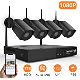 Firstrend [Expandable System] Wireless Security System, 8CH 1080P Security Camera System Wireless 4pcs HD Security Camera 1TB Hard Drive Pre-Installed,P2P Home Video Surveillance System[Black]