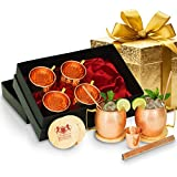 B.WEISS moscow mule copper mugs set of 6, Hand crafted-All Inclusive set-18 Oz mugs 100% Pure Copper Comes in an elegant black gift box+ BONUS 6 copper straws+ 6 coasters+1 copper shot glass