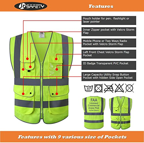JKSafety 9 Pockets Class 2 High Visibility Zipper Front Safety Vest With Reflective Strips,HQ Breathable Mesh,Meets ANSI/ISEA Standards(X-Large, Drone-Yellow) by JKSafety (Image #3)
