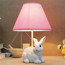 Cartoon Cloth Rabbit Baby Room Desk Lamp Fashion Kids Room Table Lamps Bedroom Bedsides Desk Light (pink-left)