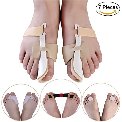 7 Pieces Bunion Corrector & Bunion Relief Protector Sleeves Kit - Treat Pain in Hallux Valgus, Big Toe Joint, Hammer Toe by JHion
