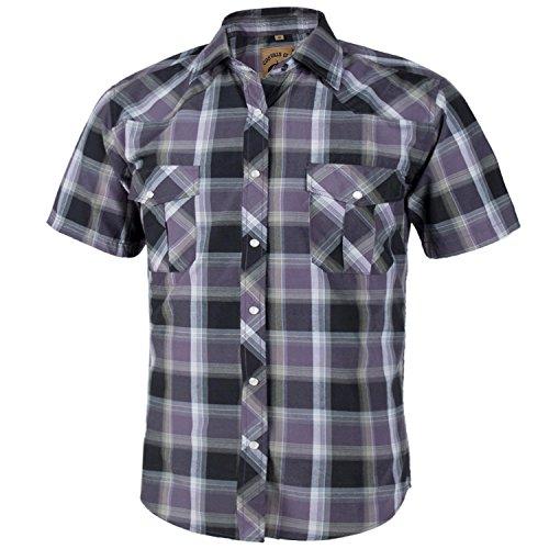 (Coevals Club Men's Short Sleeve Casual Western Plaid Snap Buttons Shirt (2XL,)