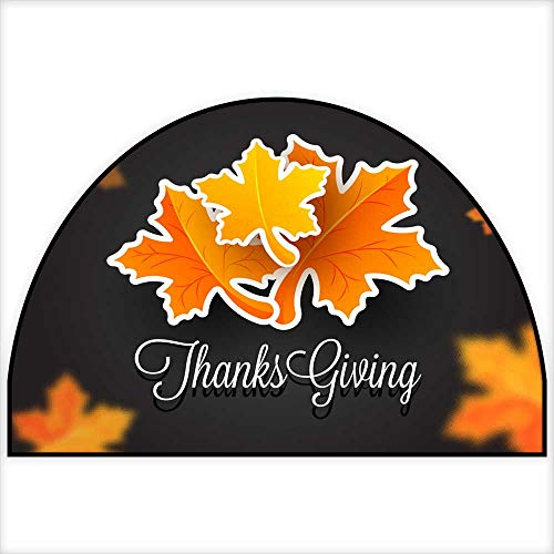 Half Round Door mats Sticker Style Maple Leaves with Stylish Paper Text Thanksgiving on Black Blurred Maple Leaf Background Can be Used as Greeting Card Design H 47.2