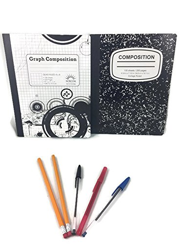Back to School Supplies Bundle. 7 Items; College Ruled Notebook, 1 Graph Composition, 1 Red, Blue Black Pens, 2 pencils