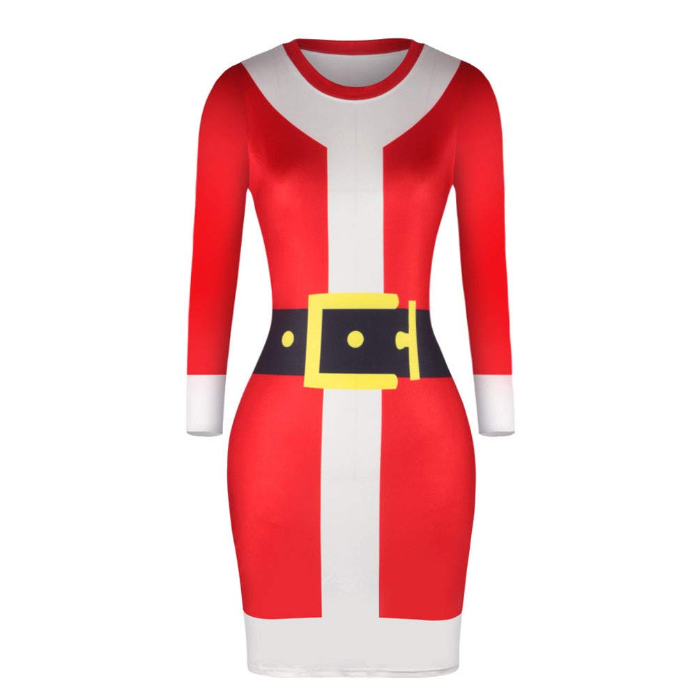 FarJing Christmas Women Dress Casual Long Sleeve Print Stretchy Skinny Bottom Dress