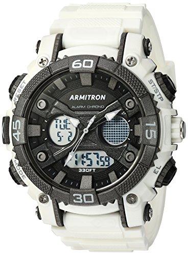 Diving Digital Analog (Armitron Sport Men's 20/5108WHT Analog-Digital Chronograph White Resin Strap Watch)