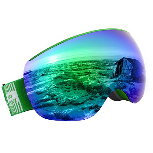 Unigear OTG Ski Goggles, Over Glasses Snowboard Snow Spherical Anti-fog Goggles for Men & Women with Interchangeable lens and 100% UV400 Protection, Portable Box - Best Glasses For Asians
