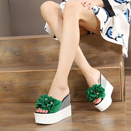 OME&QIUMEI Verano Zapatillas Sandalias De Playa Mujeres Vistiendo Anti-Derrumbe Con Piscina Gruesas Con Ultra-Alta Zapatos Verde AA