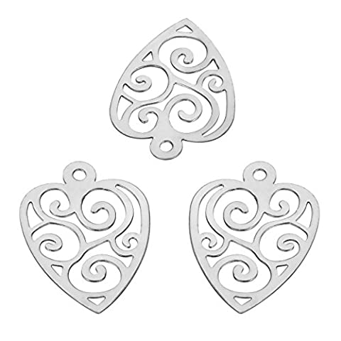 HOUSWEETY Stainless Steel Hollow Heart Charms for Jewelry Making, 10pcs - Heart Charm Jewelry Finding