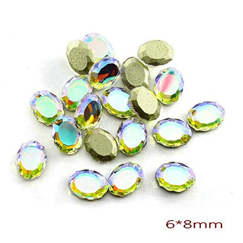 (Nail Art Supplies - 20Pcs/Pack Nail Rhinestones Personalised Flat Shapes Glass AB Colorful Stones For 3D Nails Decoration - Rhinestones For Nails - mirror 6x8cm)