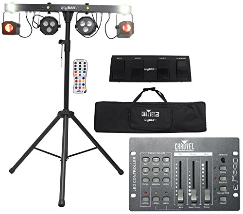 Package: Chauvet DJ GIG BAR LT With Moonflowers, LED Pars, Strobe Lights, Sound Active Program, Tripod and Carry Bag + Chauvet DJ Obey 3 Universal Dmx 512 Controller With 3 Channels