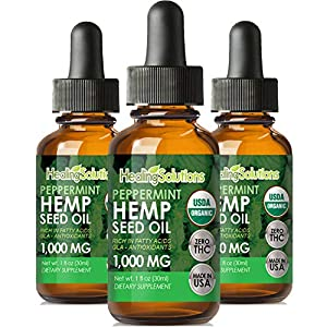 Peppermint Hemp Oil Extract for Pain Relief, Stress, Anxiety, Sleep 1000MG – (3 Pack)