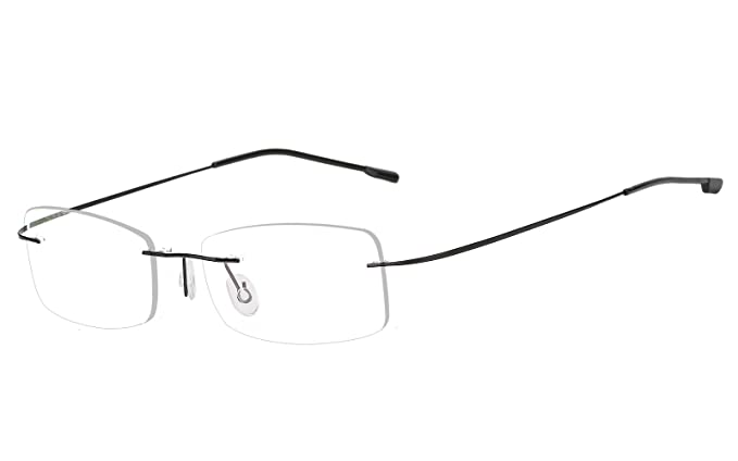 423e4e12b35 Agstum Mens Womens Titanium Alloy Flexible Rimless Frame Prescription  Eyeglasses 51mm (Black