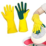 Dish Washing Latex Glove with Sponge Finger Scrub Scouring Pads Household Rubber Kithchen Cleaning Glove (yellow)