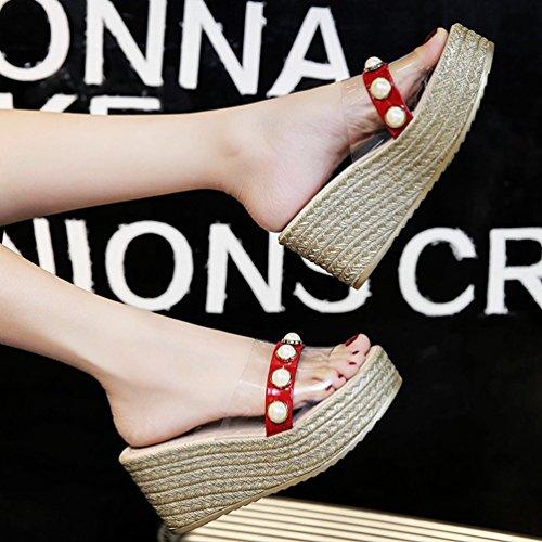 Mules Plateformes Sandales Rouge Compensées Femmes Chaussures Talons Transparent Hauts Perlé Plage Été wfUTqa0