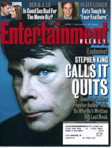 Entertainment Weekly September 27 2002 Stephen King Calls It Quits, Heath Ledger in The Four Feathers, Hairspray on Broadway, West Wing (Hairspray Memorabilia)