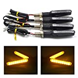 TASWK 4Pcs Motorcycle LED Turn Signal Lights Blinkers Indicator Lights (Amber)