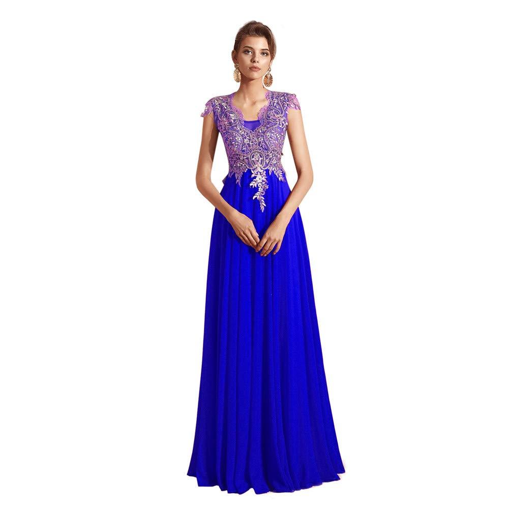 bluee Datangep Women's Lace Appliques Floor Length Bridesmaid Dress Beaded Bodice Aline Dresses