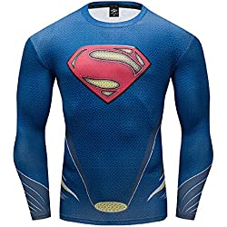 GYM GALA Superman Compression Shirt for Man's T Shirts Funny Cosplay Costume Tees (Medium, Blue)