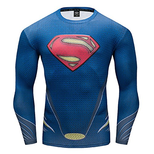 GYM GALA Superman Compression Shirt for Man's T Shirts Funny Cosplay Costume Tees (Medium, Blue) ()