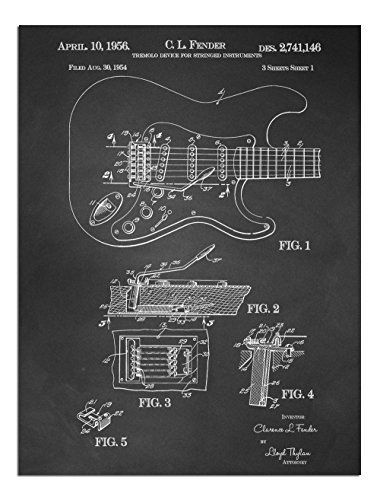JP London Solvent Free Print PAPJSC35 Whammy Bar Guitar Profile Fender Ready to Frame Vintage Chalkboard Poster Patent Art at 24