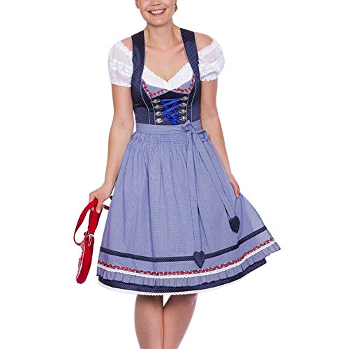 3tlg. Dirndl, Canvalite Oktoberfest 3tlg. Midi Dirndl Set - Trachtenkleid, Bluse, Schürze