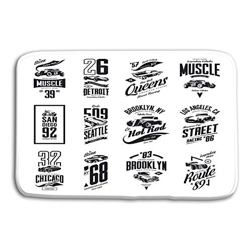 (YGUII Fashionable Design Doormat Indoor/OutdoorFloor Mat 48(L) x 16(W) Inch Vintage Muscle Roadster hot Rod Classic car Logo Isolated Set Vintage Muscle car)