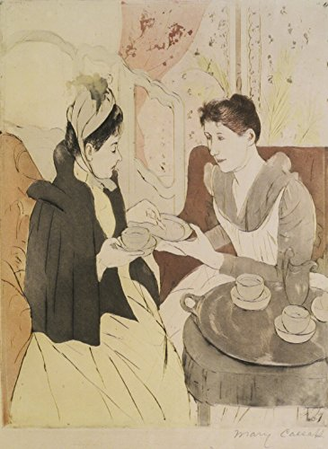 Cutler Miles Afternoon Tea Party by Mary Cassatt Hand Painted Oil on (Tea Party Canvas Reproduction)