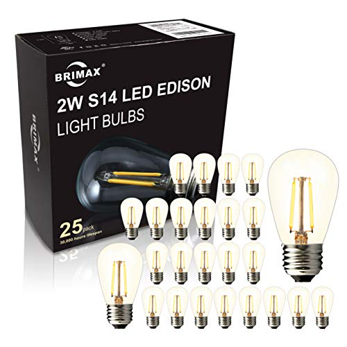 (BRIMAX - (25PACK) - 2W S14 LED Outdoor Edison Light Bulbs for String Light Replacement, E26 Medium Screw Base, Dimmable, 2700K, 2Watt to Replace 11w/15w/20w Incandescent Bulb, Weatherproof)