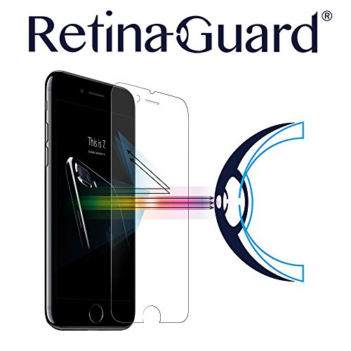 RetinaGuard Anti-blue Light Tempered Glass Screen protector for iPhone 7 Plus - SGS & Intertek Tested - Blocks Excessive Harmful Blue Light, Reduce Eye Fatigue and Eye Strain (Transparent)