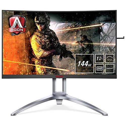 AOC Monitores AG273QCX Pantalla para PC Curvo de 27 UHD 2K resolución 2560 x 1440 Pixels 144 Hz 4ms FreeSync 2 FlickerFree LowBlue Mode Altavoces VESA VGA HDMI Displayport USB