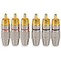DCFun RCA Male Plug Adapter, Audio Phono Gold Plated Solder Connector, Hi End - 6-Pack