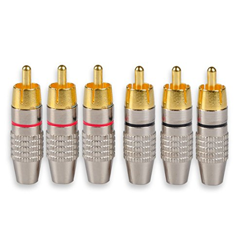 Rca Male Plug (DCFun RCA Male Plug Adapter, Audio Phono Gold Plated Solder Connector, Hi End - 6-Pack)
