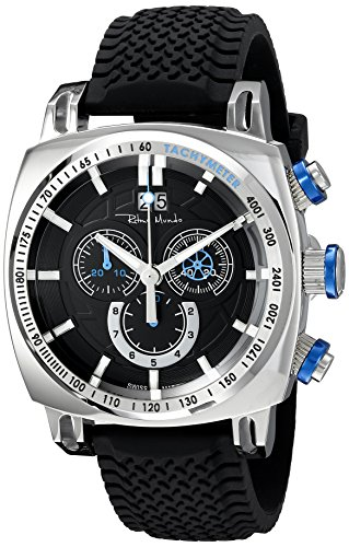 Ritmo Mundo Men's 2221/2 SS Blue Racer Analog Display Swiss Quartz Black Watch