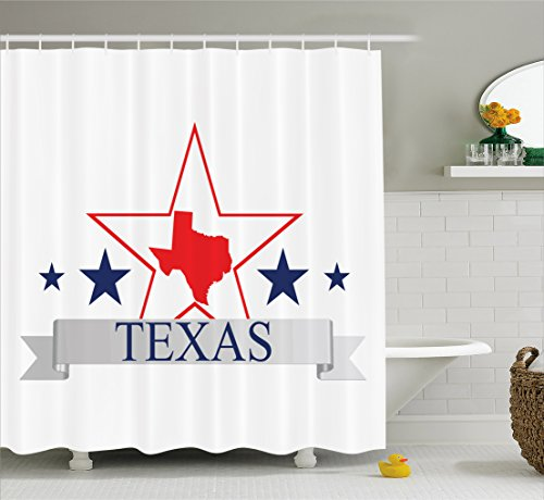 Dallas Stars Drapes (Ambesonne Texas Star Shower Curtain, San Antonio Dallas Houston Austin Map with Stars Pattern USA, Cloth Fabric Bathroom Decor Set with Hooks, 70 Inches, Navy Blue Vermilion Pale Grey)