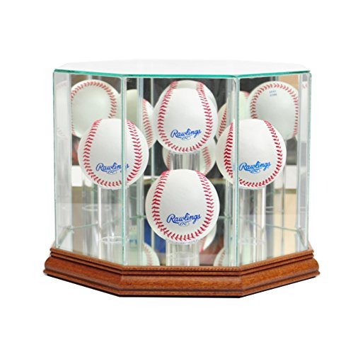 - Perfect Cases Octagon 4 Baseball Display Case - Walnut