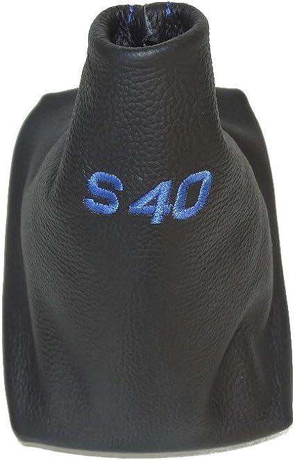 Para palanca de cambios con marco de pl/ástico negro piel rojo S40 bordado