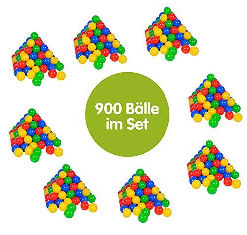 Knorrtoys 56795 - Bälleset - 900 bunte Plastikbälle/ Bälle für Bällebad im Netz mit je 100 Stck., 6 cm Durchmesser, in Farbmischung blau / rot / gelb / grün, ohne gefährliche Weichmacher, TÜV-Rheinland Testbericht v. April 2016