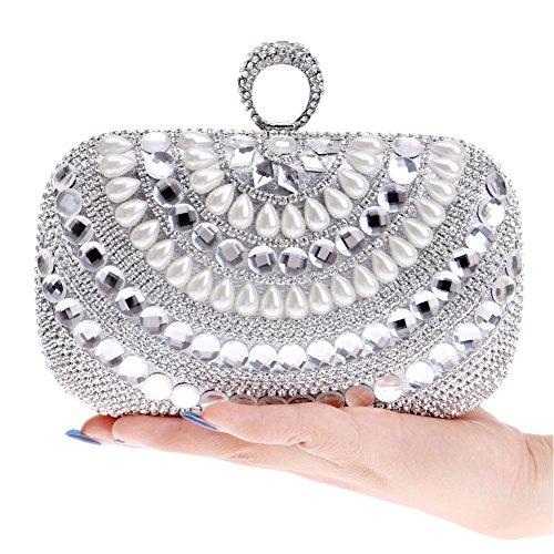 HKC Mini Bag Bag Pearl Gown Bag Color Fashion Ladies 2 Dinner Evening Women's Crossbody 2 Clutch Banquet Shoulder rw6qrX