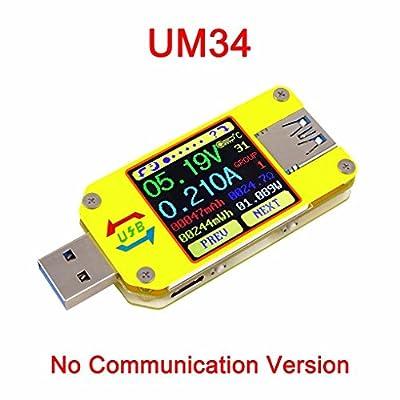 Bobury UM34 UM34C USB 3.0 Type-C DC Voltmeter Ammeter Voltage Current Meter Battery Charge Measure Cable Resistance Tester by Bobury
