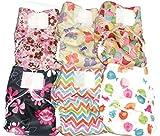 Jona's Creation, Cloth Diaper Pocket, Set of 6 pcs w/ 6 pcs Hemp Insert (Newborn 6-14 Lbs) - Mix Pattern for Girl