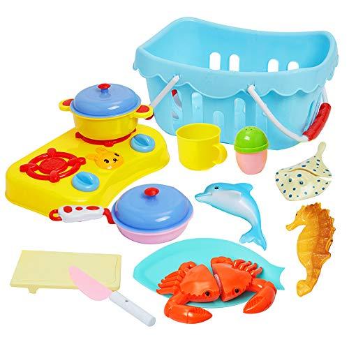 ToyerBee Kids Play Food & Pretend Play Cutting Kitchen Toys-Outdoor Sand Toys Basket-Educational Preschool Toy Assortment-seaCreatureToys-Birthday Gift Girls Boys