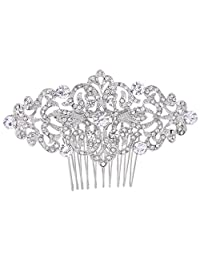 Ever Faith Art Deco Wave Bridal Hair Comb Clear Austrian Crystal Silver-Tone N04307-1